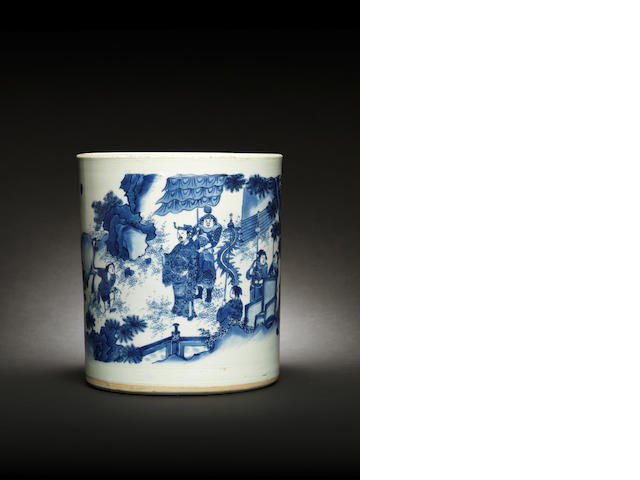 A large blue and white brushpot, bitong Chongzhen/ Shunzhi