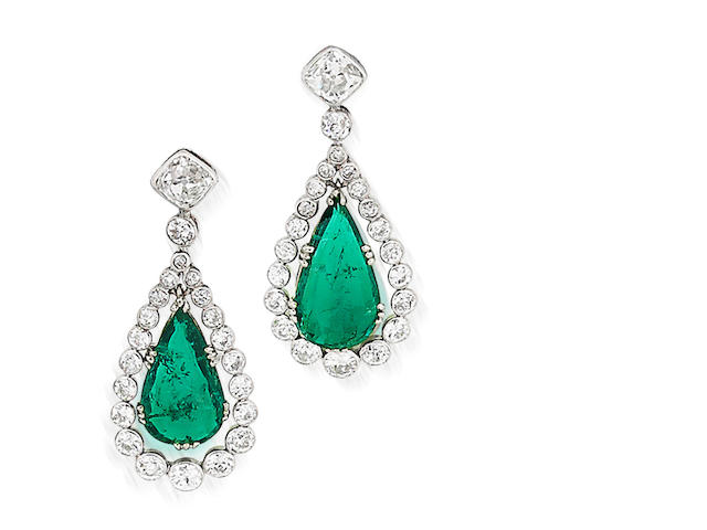 A pair of emerald and diamond pendent earrings,