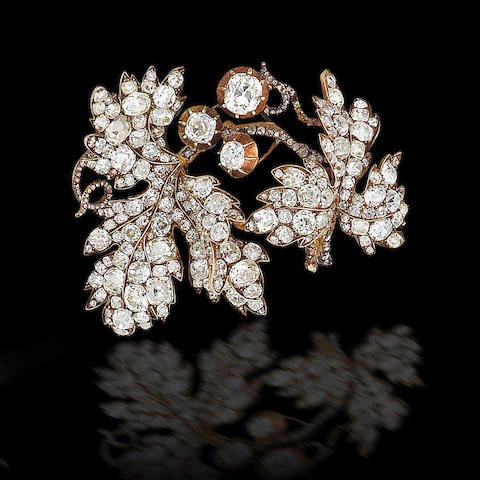 A mid 19th century diamond foliate spray brooch