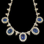 A foiled sapphire and diamond necklace,