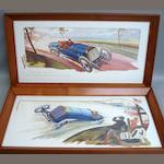 Six motor racing Michelin advertising prints after Gamy,