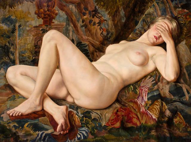 Boris Chaliapin (Russian/American, 1902-1979) Reclining Nude