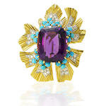 An amethyst, turquoise and diamond flower brooch, by Cartier,