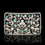 An emerald and diamond 'plaque de cou' brooch,