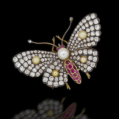 A pearl, ruby and diamond butterfly brooch,
