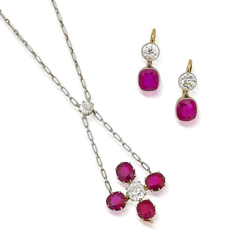 A ruby and diamond pendant and a pair of ruby and diamond earrings, circa 1900 (2)