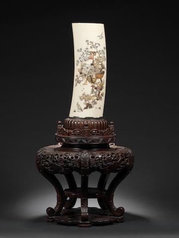 A silver-mounted Shibayama style ivory tusk vase By Masamitsu, Meiji Period
