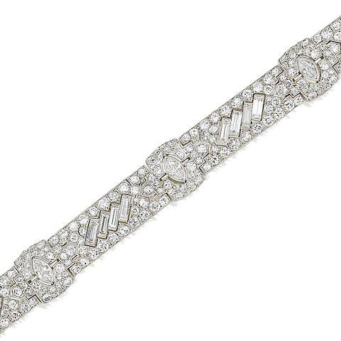 An art deco diamond bracelet, by Tiffany,