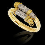 A gold and platinum hinged bangle,