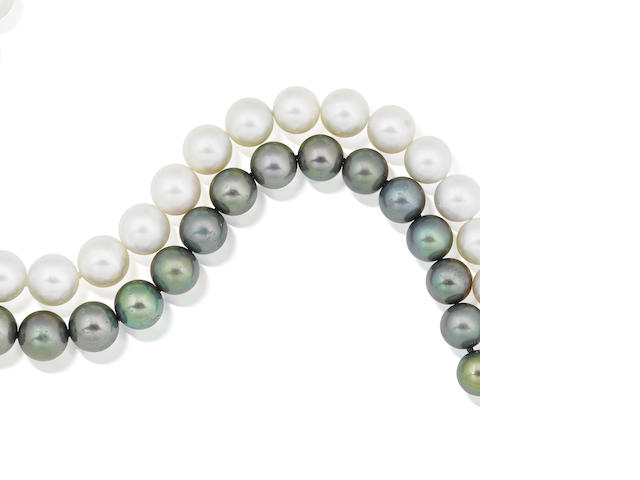 Two cultured pearl and diamond necklaces (2)