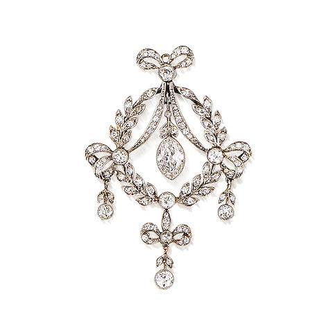 Diamond brooch pendant, c1905, Collingwood fitted case, pendant/brooch fittings