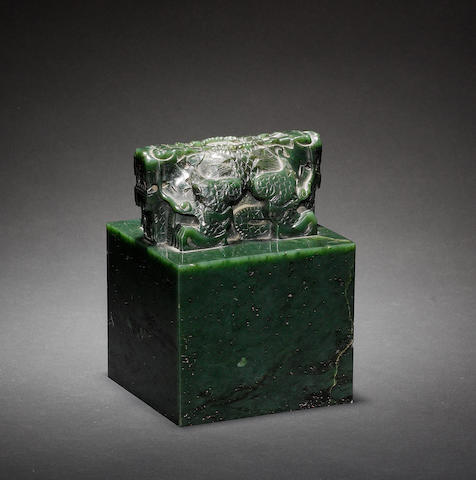 A large spinach jade square lion-handled seal