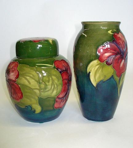 A Walter Moorcroft 'Hibiscus' pattern vase