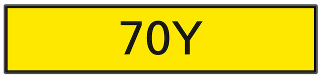 The registration number '70Y',