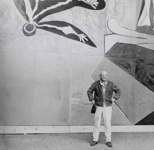 André  Villers (French, born 1930) Picasso in front of 'La Chute d'Icare', Vallauris, 1957 Paper 30.4 x 37.5cm (12 x 14 3/4in), image 28.8 x 29.2cm (11 3/8 x 11 1/2in).