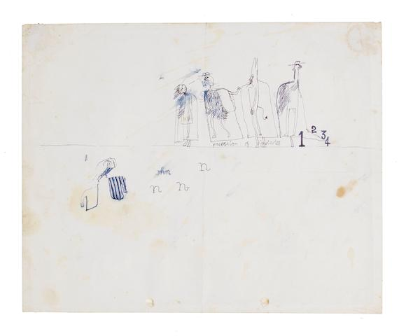 David Hockney R.A. (British, born 1937) Procession of Dignitaries Pen and ink drawing, circa 1960, on cartridge, 203 x 252mm (8 x 9 7/8in)(SH), accompanied by a photograph, showing Hockney at a friend's kitchen table producing the drawing 2 unframed
