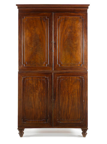 A Regency mahogany linen press/cabinet attributed to Gillows?