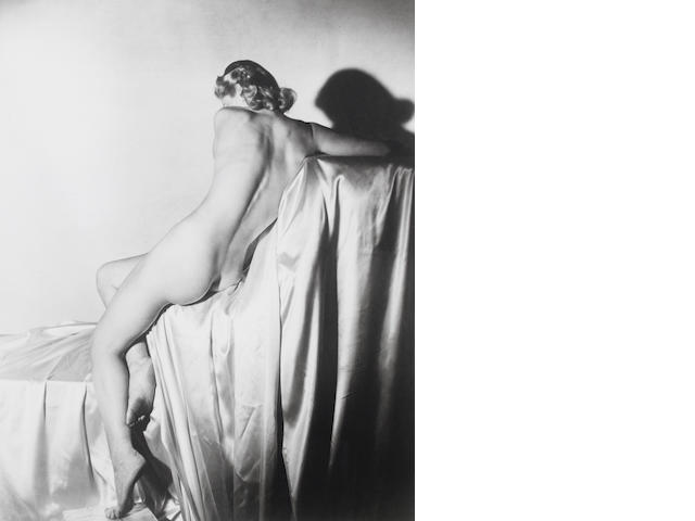 Horst P. Horst (German/American, 1906-1999) Lisa on Silk I, New York, 1940 Image 55 x 43.8cm (21 5/8 x 17 1/4in).
