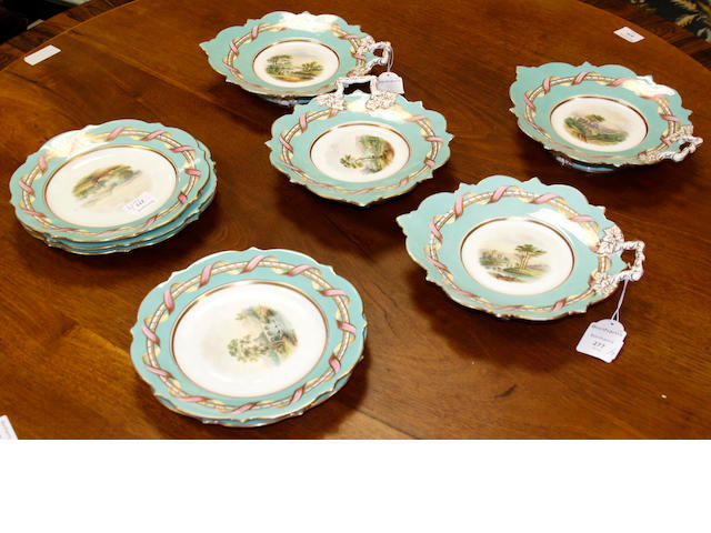 A mid-Victorian English porcelain part dessert service,