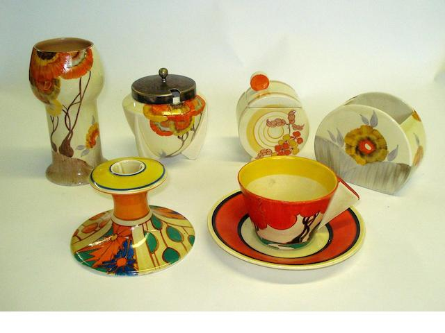 A collection of Clarice Cliff items