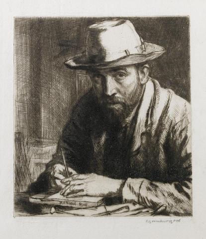 Muirhead Bone (British, 1876-1953) self portrait in hat