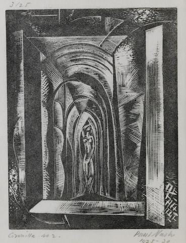 Paul Nash (British, 1889-1946) Coronilla. No.2 Woodcut, a greyish impression, 1925-30, on thin, off white japon, signed, dated, titled and numbered 3/25 in pencil, 114 x 89mm (4 1/2 x 3 1/2in)(B)