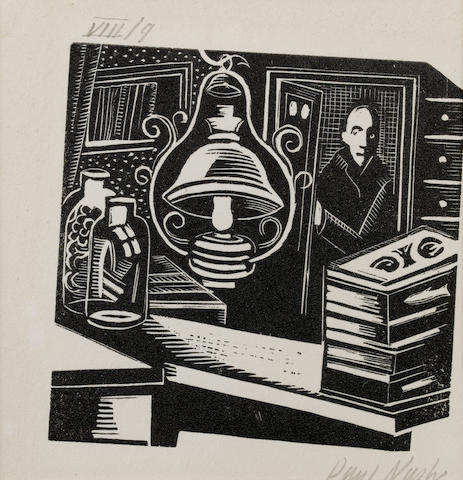 Paul Nash (British, 1889-1946) Cotswold Characters - Joe Pentifer and Son Woodcut, 1921, on wove, signed, dated and numbered VII/9 in pencil, an illustration from the book by David Drinkwater, published by Yale University Press, 75 x 75mm (3 x 3in)(B)