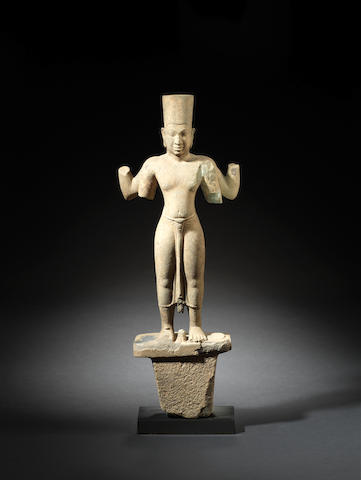 An important sandstone figure of a four-armed Vishnu Khmer, pre-Angkor Period, 7th/8th century
