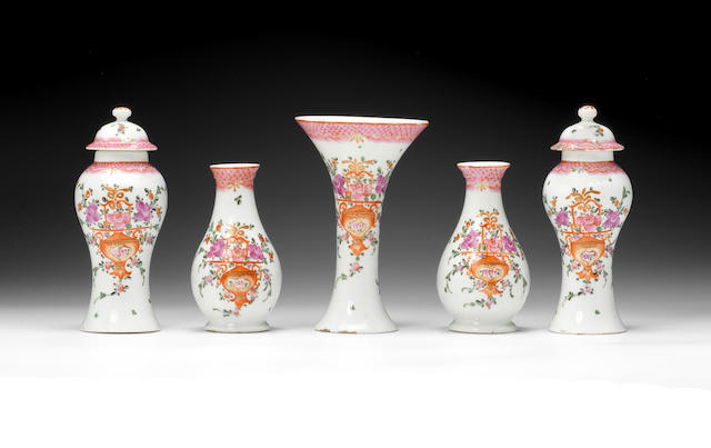 An important garniture of five Lowestoft vases and two covers, circa 1785-90