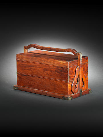 A huanghuali rectangular two-tiered picnic box and cover 18th/19th century