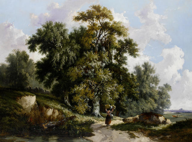 John Berney Ladbrooke (British, 1803-1879) A view at Bramerton in the valley of the Yare