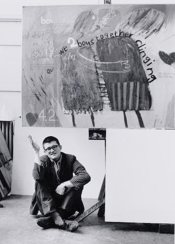 Geoffrey Reeve (British, 1936) David Hockney in front of his painting 'We two boys together clinging' Bromide print, c1961, 508 x 406mm (20 x 16in)(SH)