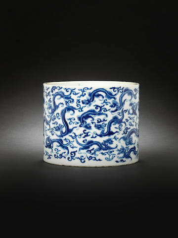 A blue and white cylindrical brushpot, bitong  Kangxi, four-character hall mark
