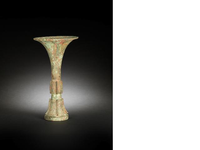 A fine bronze flaring beaker vessel, gu Shang Dynasty