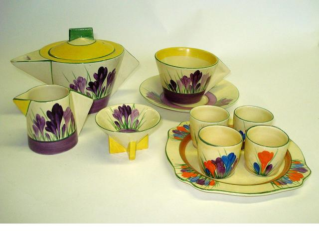 A collection of Clarice Cliff 'Purple Crocus' pattern items Circa 1935
