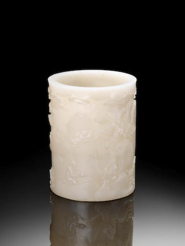 A white glass cylindrical brush pot, bitong Qianlong four-character seal mark, 19th century