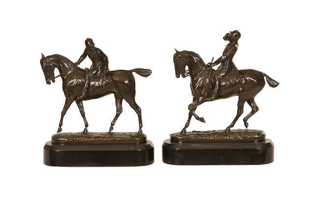 John Willis Good (British, 1845-1879) A pair of bronze models of hunters The Huntsman and The Whip