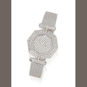 A lady's diamond-set wristwatch, by DeLaneau
