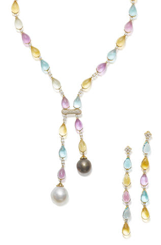 A gem-set necklace and earring suite (2)