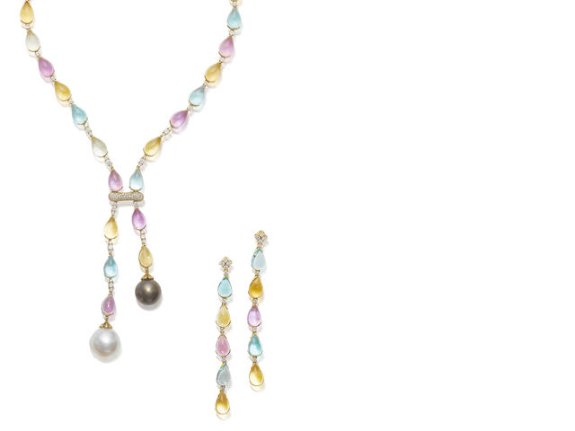 A gem-set necklace and earring suite