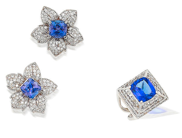 A pair of tanzanite and diamond earrings and a tanzanite and diamond ring