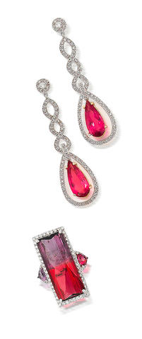 A bi-colour tourmaline and diamond ring and a pair of pink tourmaline and diamond earrings (2)