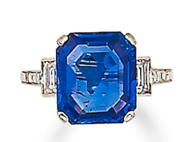 A sapphire and diamond ring, by Tiffany & Co.
