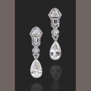 A pair of Art Deco diamond earring,