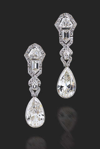 A pair of Art Deco diamond earrings,