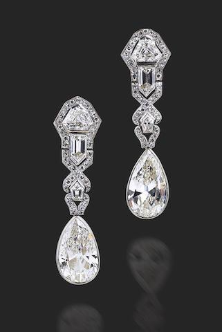 A pair of Art Deco diamond earrings,