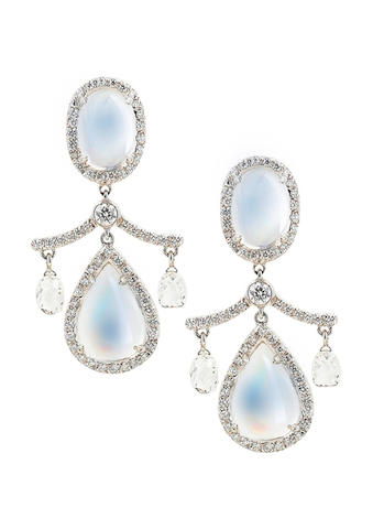 A pair of moonstone and diamond pendent earrings, by Fred Leighton