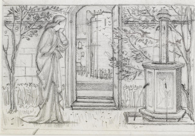Sir Edward Coley Burne-Jones, Bt., ARA (British, 1833-1898) Study for Danae and the Brazen Tower
