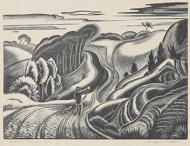 Clifford Cyril Webb (British, 1895-1972) Earthworks, Painswick Linocut, signed, titled and numbered 13/50 in pencil, on thin wove, with margins, 150 x 222 mm (6 x 8 3/4 in) (I) (unframed)