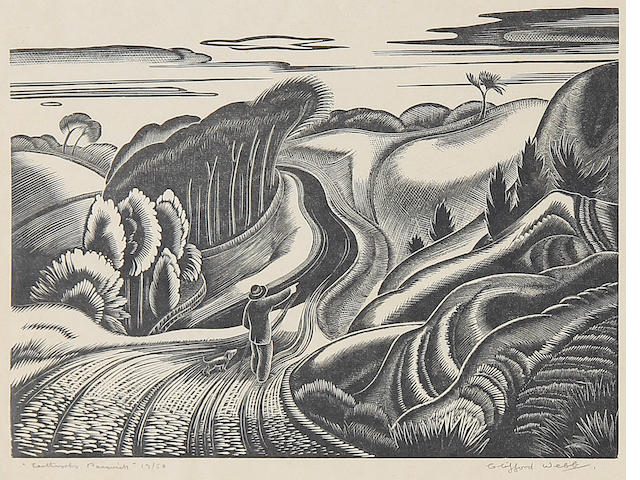 Clifford Cyril Webb (British, 1895-1972) Earthworks,Painswick Linocut, signed, titled and numbered 13/50 in pencil, on thin wove, with margins, 150 x 222 mm (6 x 8 3/4 in) (I) (unframed)